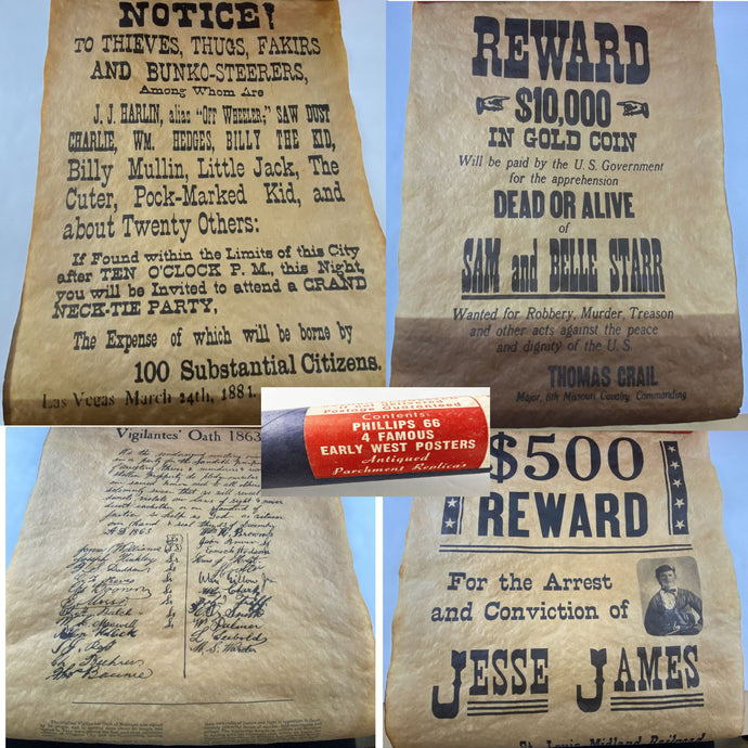 4 Western Wanted Posters Jesse James Billy the Kid Phillips 66 Outlaws