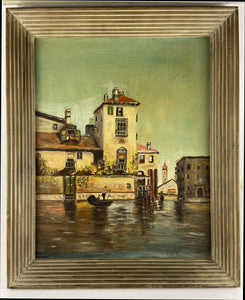 Venice Oil Painting on Canvas Signed Day Vintage Italian Seascape