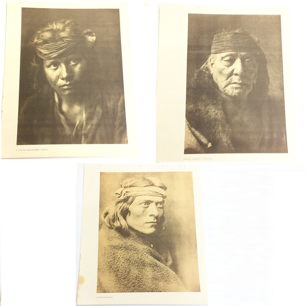 Edward Curtis Vintage Lithographs a Set of 3, Zuni, Navaho, Etc.