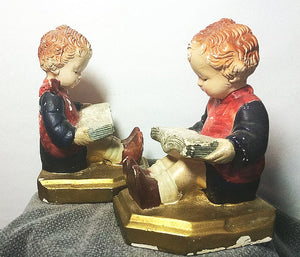 English Girl Bookends Chalkware