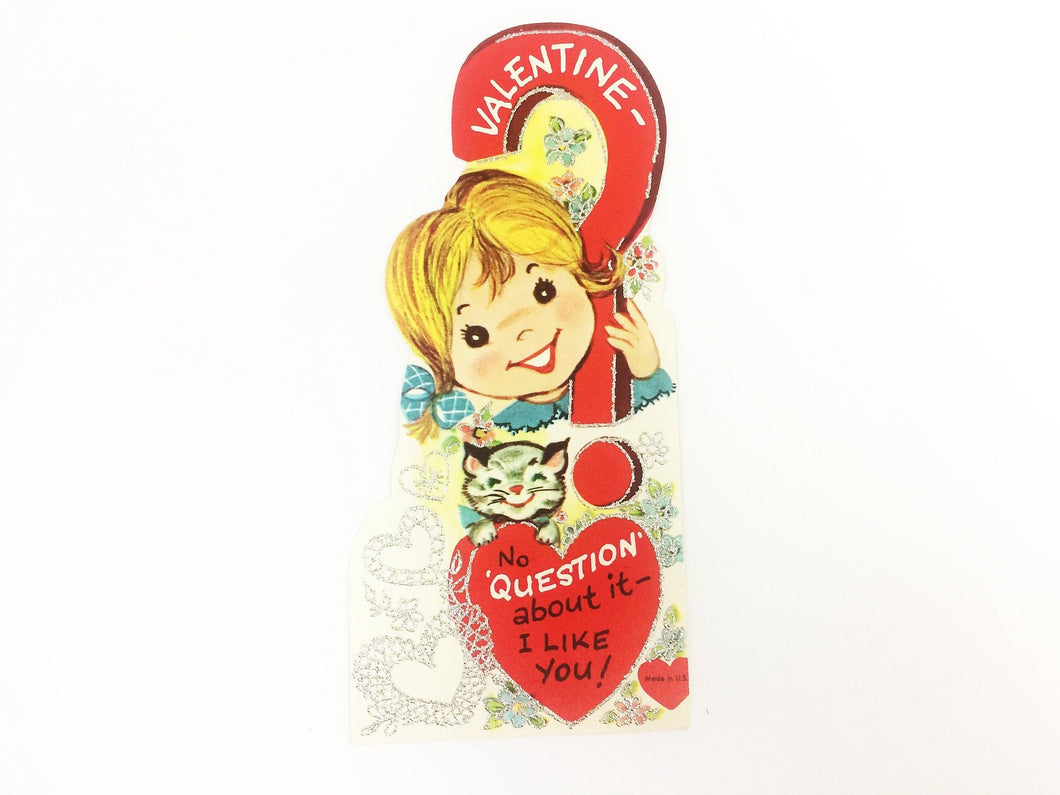 No Question Vintage Kids Valentine Card Mid Century Art