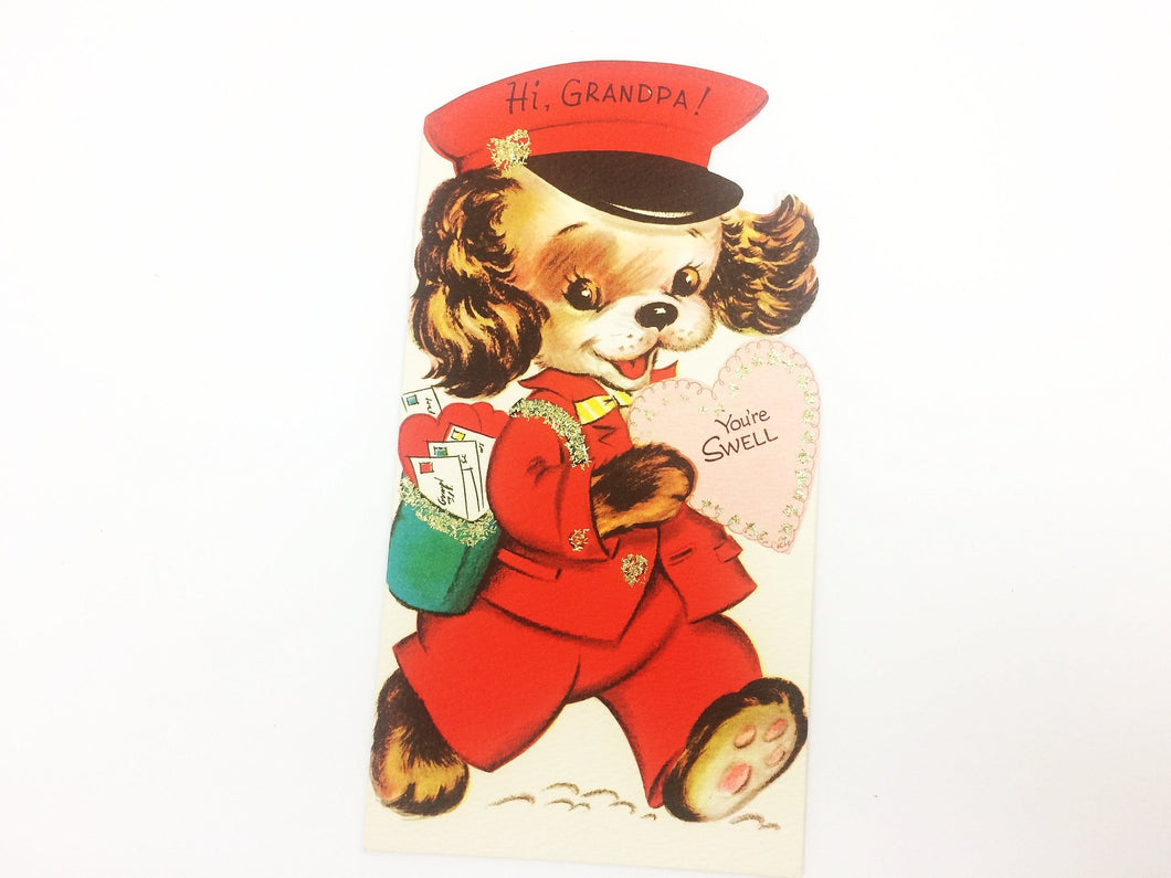 For Grandpa Vintage Puppy Valentine Card 5V223