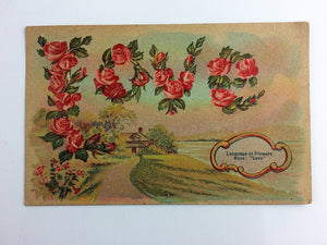 Antique Valentine Postcard Love in Roses