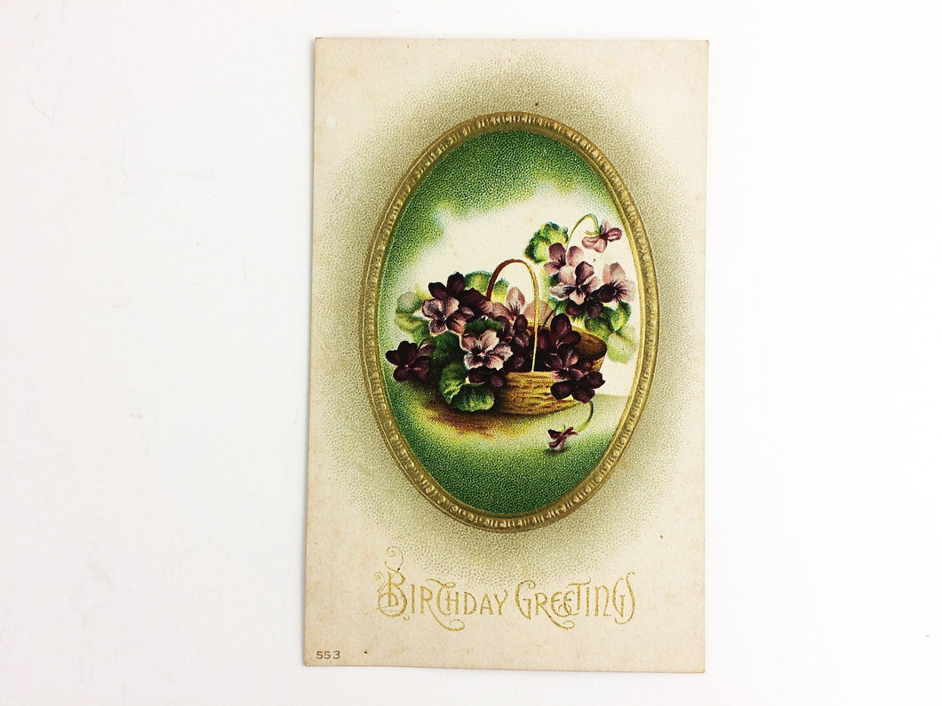 Antique Birthday Greetings Postcard Vintage Original