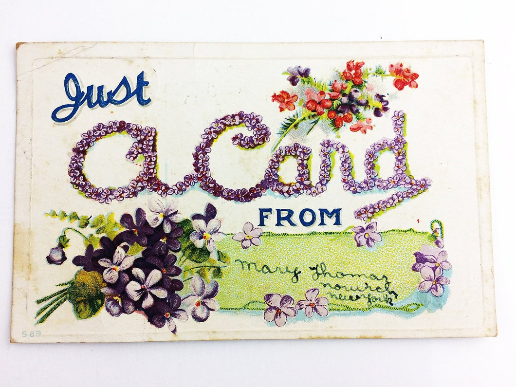 Antique Just A Card From Postcard Vintage Greeting for Friends 1910