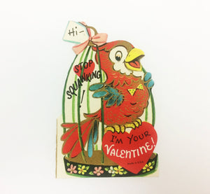 Parrot Valentine Card 1950s Era Vday Greeting