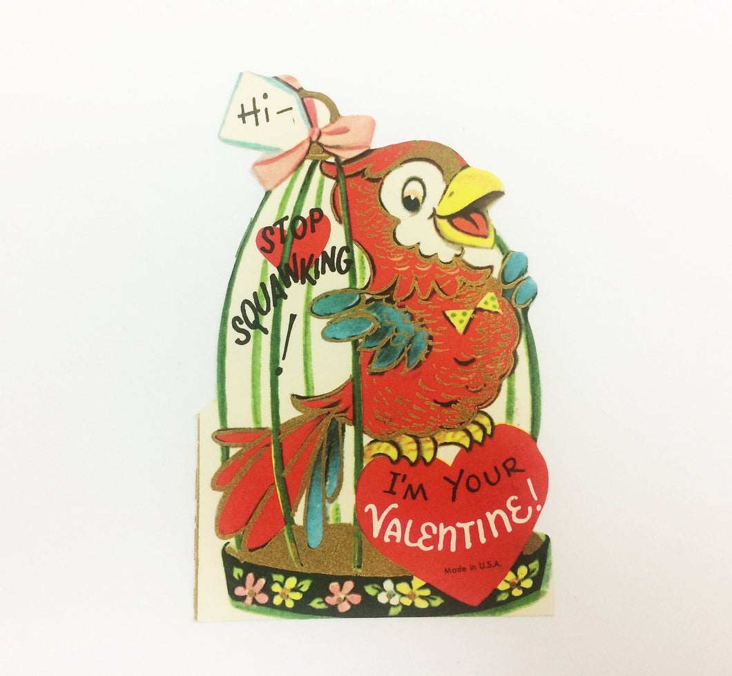 Parrot Valentine Card, 1950s