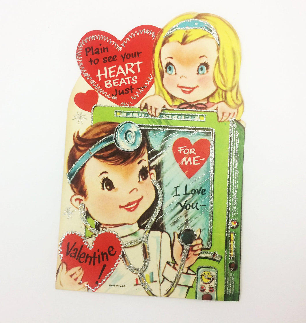 Fluoroscope Vintage Valentine Card with Glitter Edges
