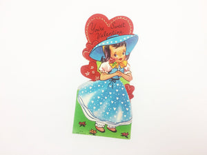 Antebellum Dress Girl Vintage Valentine Card