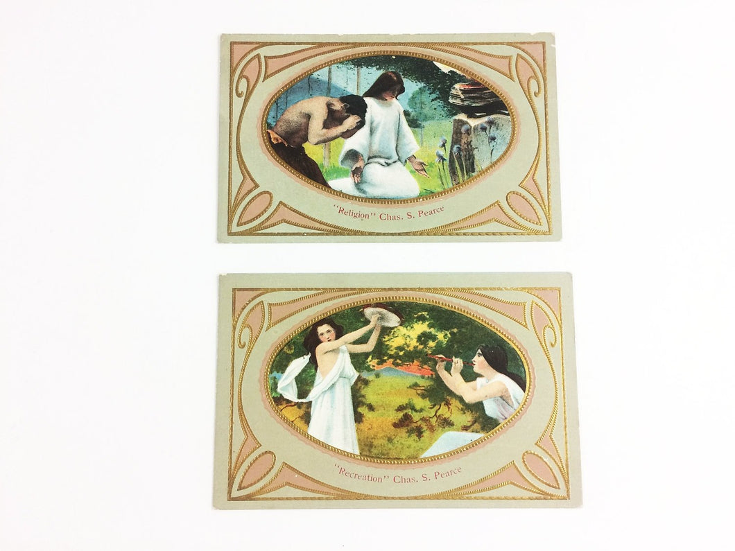 Art Deco Chas Pearce Postcard Set Religion Recreation Antique Originals