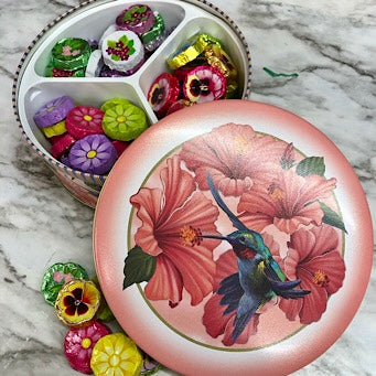 Hummingbird Tin full of Flowers