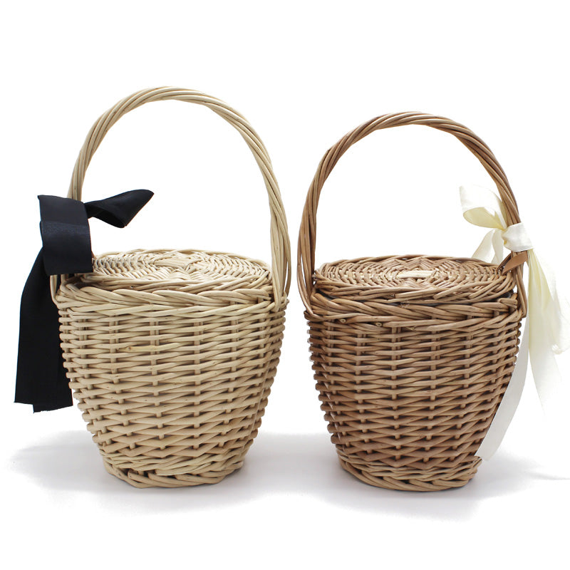 Beach Rattan Straw Bucket Handbags