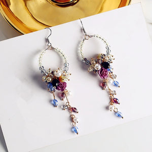 D'oreille Rhinestone Flower Beads Tassel Earrings