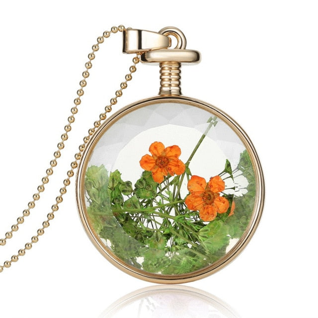 Vintage Dried Flowers Glass Necklace