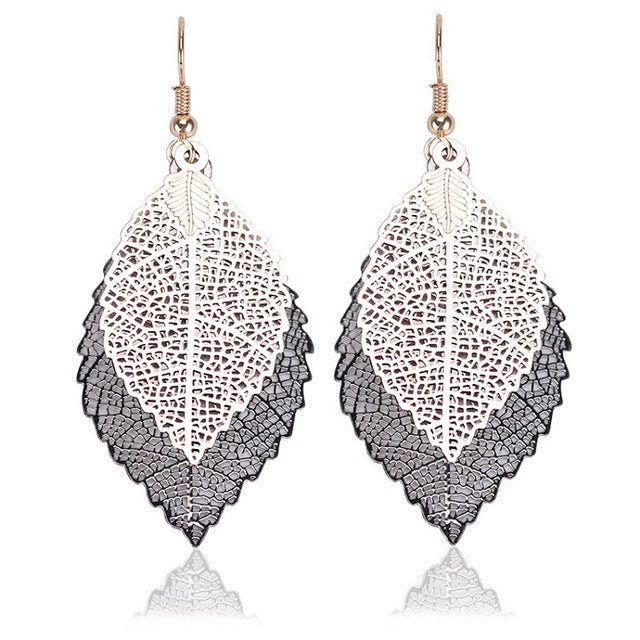 Silver Vintage Leaves  Earrings