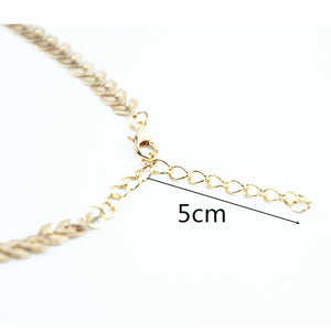 Leaves Chain Sequins Choker Necklaces