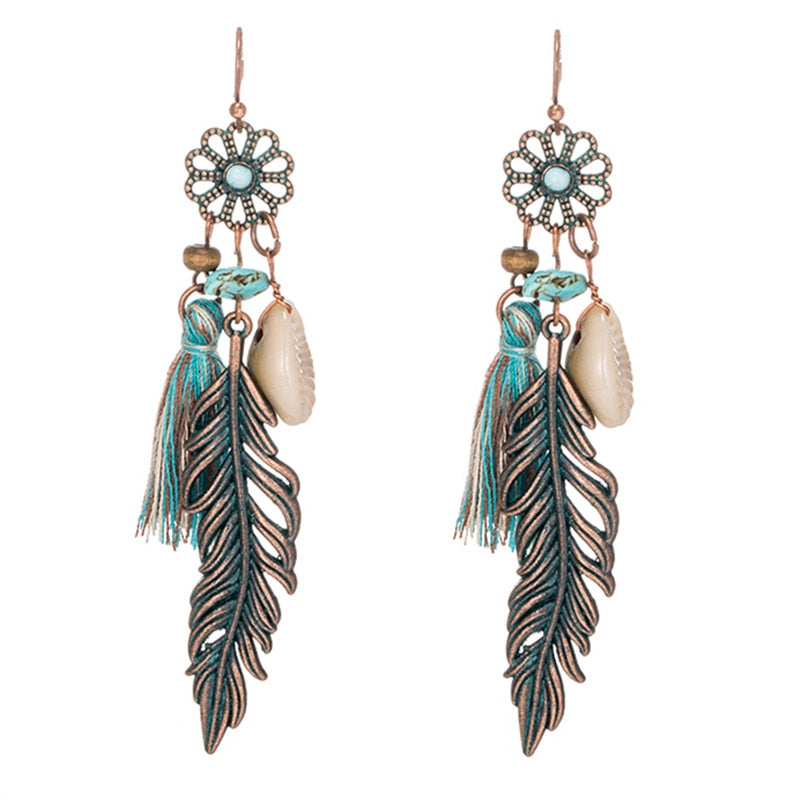 Antique Vintage Bohemian Feather Tassel Earrings
