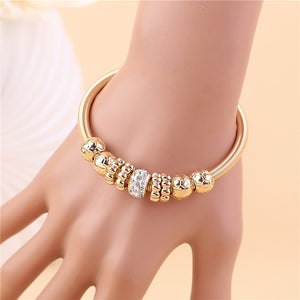 Gold Silver Crystal Alloy Beads Charm Bracelet