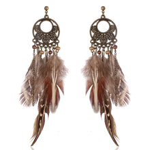 Boho Gypsy Tassel  Feather Earring