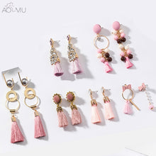 All About Pink Tassel Fringed Drop Earrings