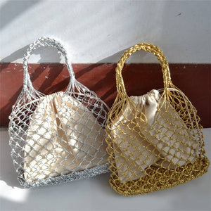 Woven Cotton Lining Nest Bucket Bag