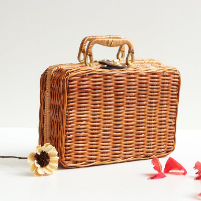Vintage Beach Bamboo Basket Bag