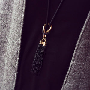 Bow Tassel Boho Necklace