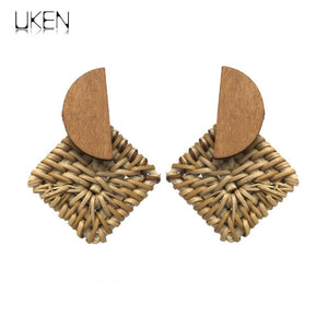 Vintage Handmade Rattan  Straw Woven Earrings