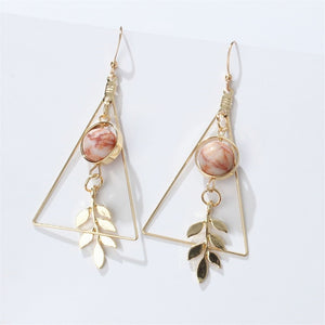 Vintage Hollow Out Triangle Marble Leaf Earrings