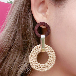 Handmade Acrylic Rattan Straw Woven Earrings