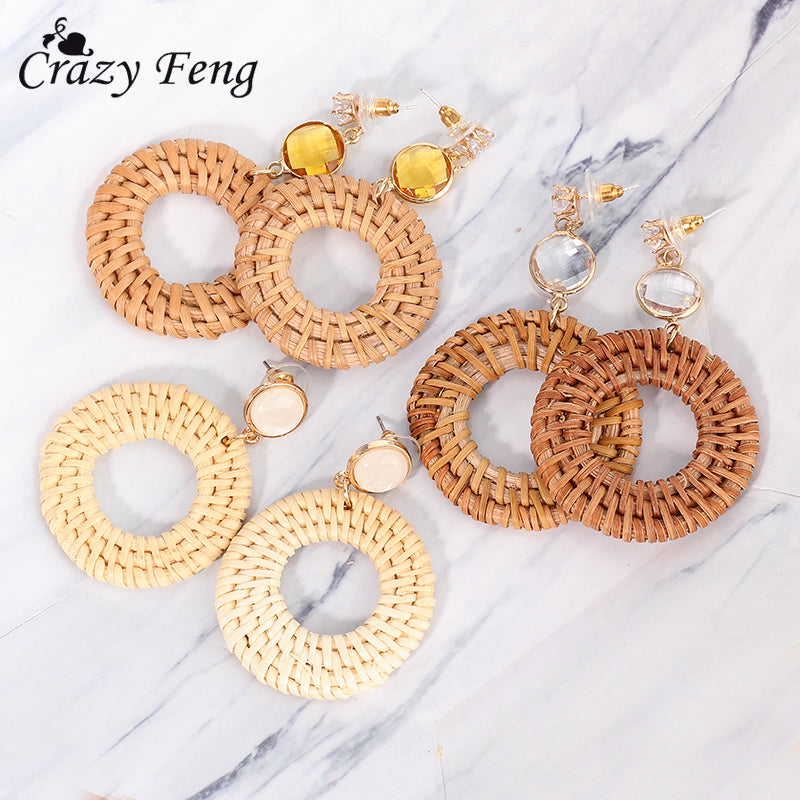 Classic Vintage Rattan Knit Earrings