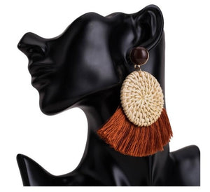 Fan Tassel Boho Straw Rattan Braid Earrings