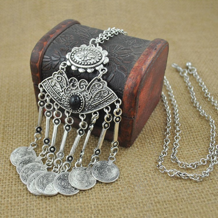 Gypsy Bohemian Silver Necklace