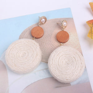 White Bohemia Straw Woven Earrings
