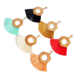Flatfoosie Rattan Knit Tassel  Earrings