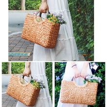 2019 Wooden ring Portable Women straw Bag Korean Foreign of Corn Skin RETRO Art Beach Bag Travel Pictures Props Straw Bag Moon Bag