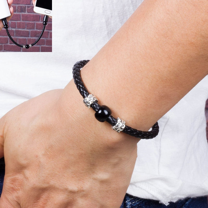 Smart Jewelry Beads Wrist Band USB Charging Cable