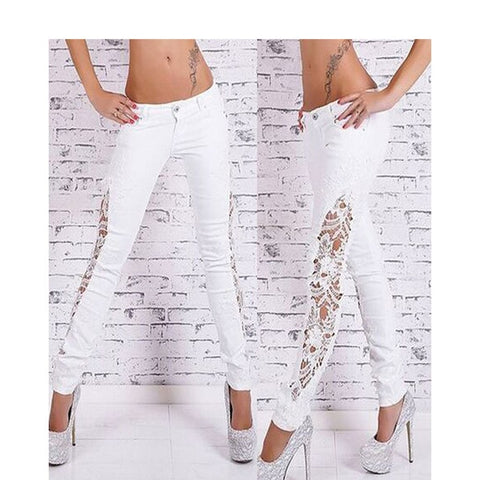 Street Fashion Slim Jeans Lace Pants Woman Long Lace Jeans