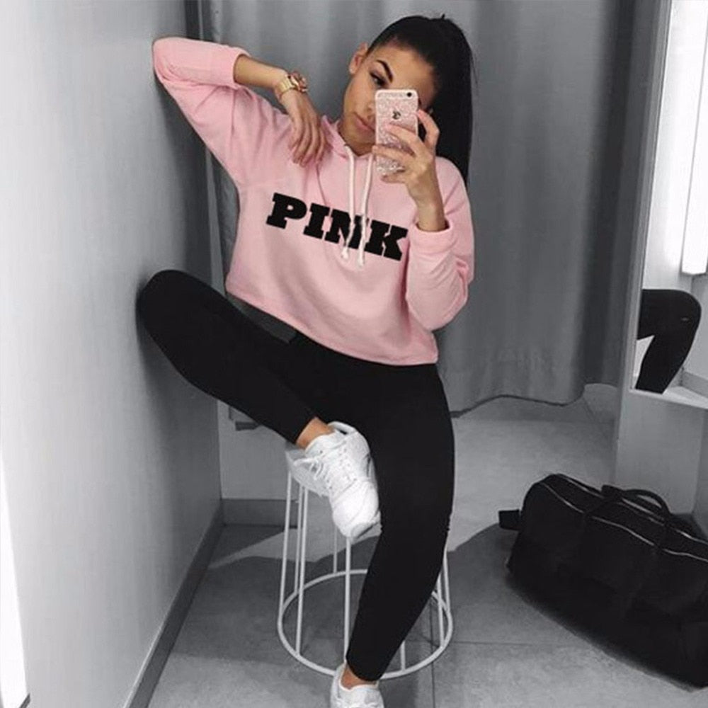 Women Oversized Hoodies Jumper Sweatshirt Female Pink Cropped Top 2017 Winter Kawaii Harajuku Letter Loose Pullover