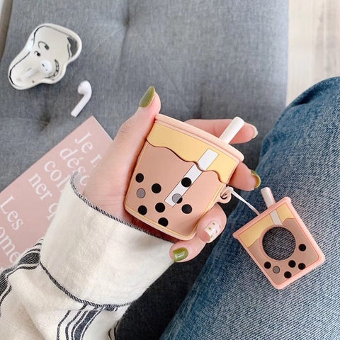 For AirPods Case Cartoon Cute Funny Milk Bubble Tea Drink Bottle Earphone Protect Cover For Airpods 2 with Finger Ring Strap