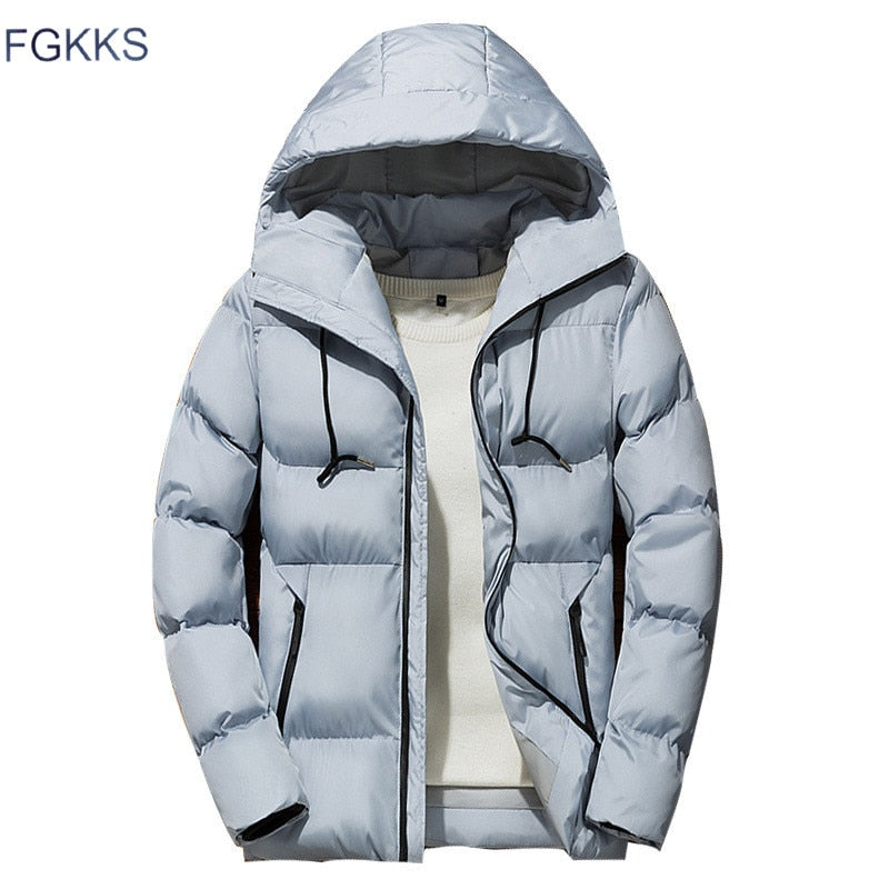 Winter Men Parka Jacket 2019 Men's Winter Solid Color Simple High Quality Casual Down Jacket Warm Thick Hooded Parkas Male