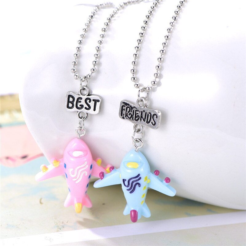"2PCs/set ""best friends"" Air plane Necklaces Kids Imitation BFF Friendship Necklace"