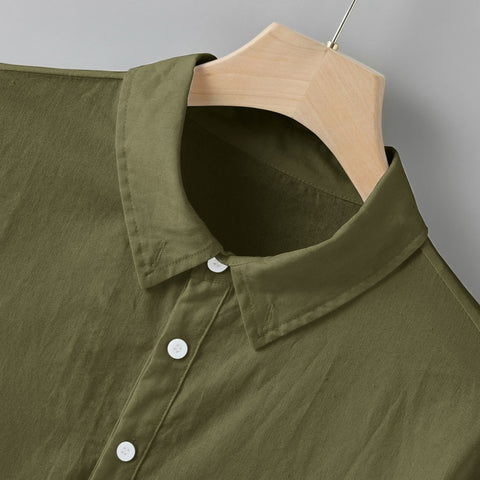 Men's Cotton / Linen Solid Multi-Pocket Short Sleeve Shirt
