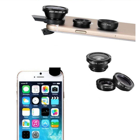 Universal 3 In 1 Clip Fisheye Lens Camera Fish Eye Wide Angle Macro Lenses for Iphone 7 6 6s 5 4s Samsung Huawei Sony Smartphone
