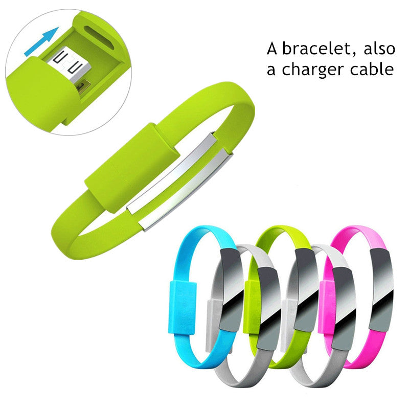 Unisex Mini Short Flat Bracelet Micro USB 2.0 Sync Data Charger Cable for Android Phones 2 in 1 Wristband Bracelet