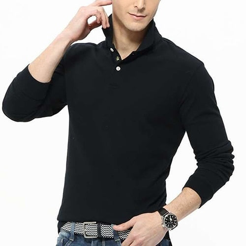 Men's Casual Solid Color Turn-Down Collar Long Sleeve Polo Shirt Pullover Top