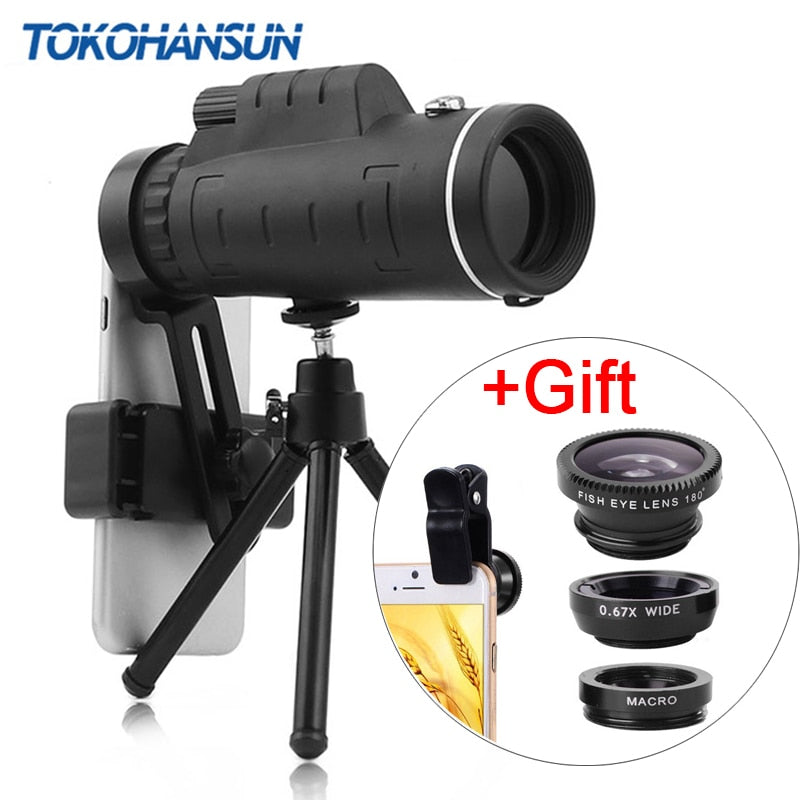 40X Telephoto Zoom Phone Lens Telescope 40x60 Lenses with Tripod for IPhone + Gift Fisheye Wide Angle Macro 3In1 Lens
