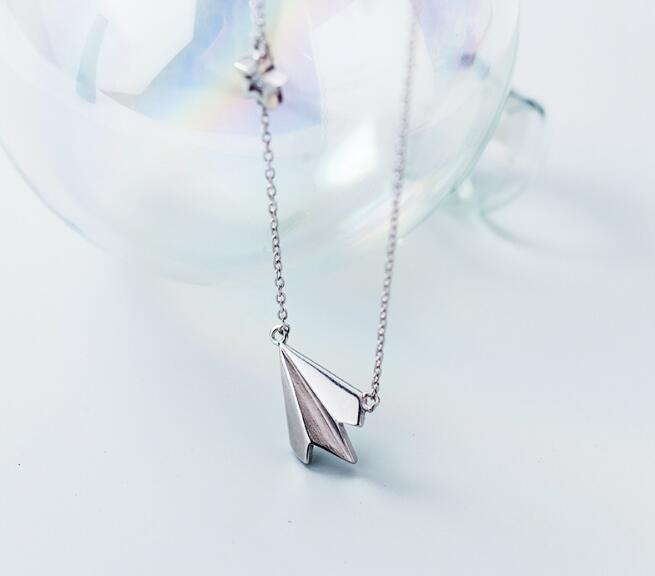 100% real Silver 925 Fine Jewelry cz star &Paper Plane Pendant Necklace GTLX1860