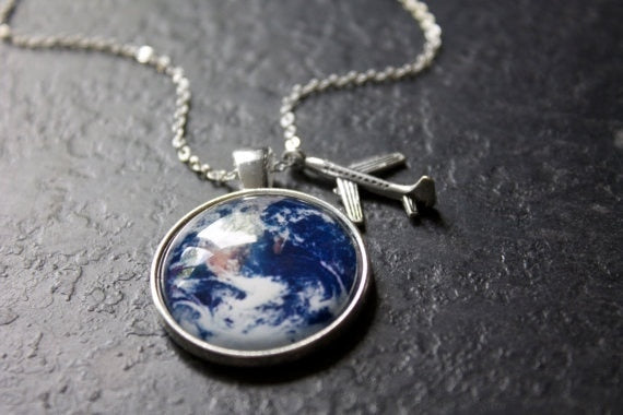 Travel Explore Discover Glass Dome Necklace Plane Charm