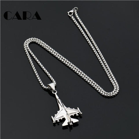 2019 NEW arrival 316L Stainless steel Battle plane pendant charm
